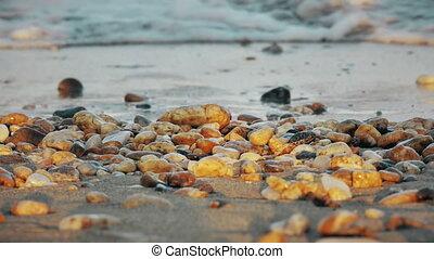 lenget, tengerpart, 4k, kő