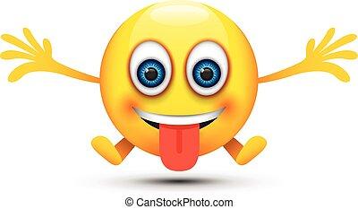 lengua, feliz, afuera, emoji