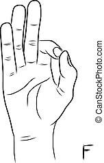 lenguaje por señas, f, carta, alfabeto