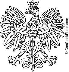 lengyelország, sas, fényesít, nemzeti, bőr, közül, kar