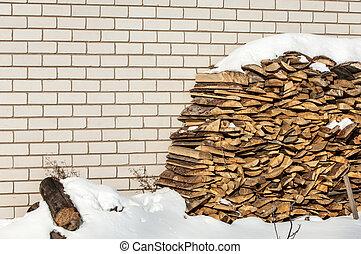 lenha, pilha, inverno
