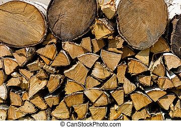 lenha, pilha madeira
