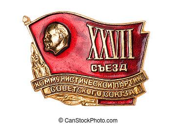 lenin, blanc, écusson, soviétique, macro
