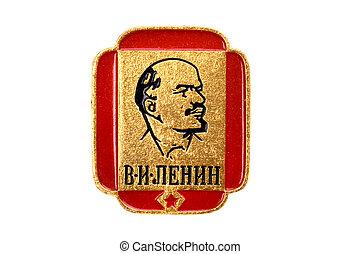 lenin, fin, écusson, soviétique, haut