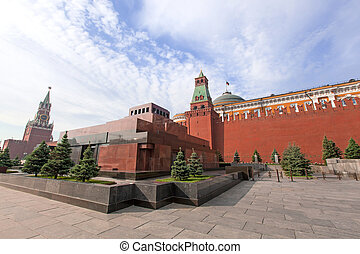 Lenin Mausoleum and Kremlin's tower at Red Square in Moscow...