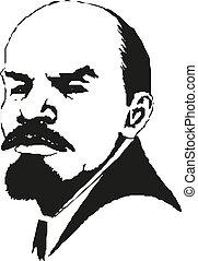 Lenin. Portrait of Vladimir Lenin. Symbol of world...