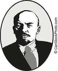 Lenin. Portrait of Vladimir Lenin. Symbol of world revolution. vector symbol of communism. USSR.