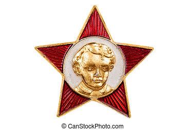 lenin, soviétique, haut fin, blanc, écusson
