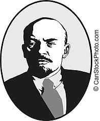 lenin., vladimir, 符號, ussr., 矢量, 肖像, 世界, communism.,...