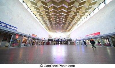 Leningradsky rail terminal in Moscow, situated on komsomolskaya square