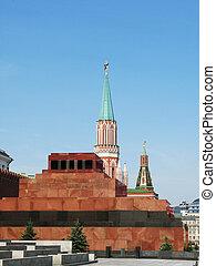 lenin's, mausoleum, på, den, röda fyrkantiga, in, moskva