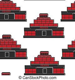 Lenins mausoleum USSR building seamless pattern architecture...