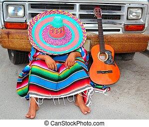 leniwy, grunge, wóz, spanie, drzemka, meksykanin, facet