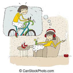 leniwy, teenage, myśl, dziewczyna, bańka, rysunek, ...