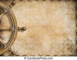 lenkrad, und, leer, weinlese, nautische karte, hintergrund