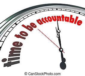 lenni, óra, felelős, elfogad, accountable, tulajdonjog, idő