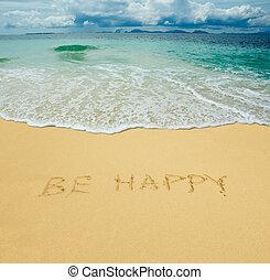 lenni, boldog, írott, alatt, egy, homokos, tropical tengerpart