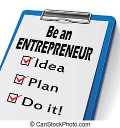 lenni, egy, vállalkozó, csipeszes írótábla