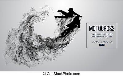 lenni, fehér, elvont, árnykép, vektor, konzerv, háttér, lovas, motokrossz, particles, megtesz, changed, steam., dohányzik, ugrás, más., bármilyen, trick., leporol