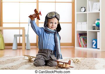 lenni, játékszer, aviator., repülőgépek, igénylés, gyermek, otthon, játék, kölyök