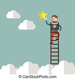 lenni, successful., metafora, gól, elérő, csillag, vektor, üzletember, vagy, illustration.