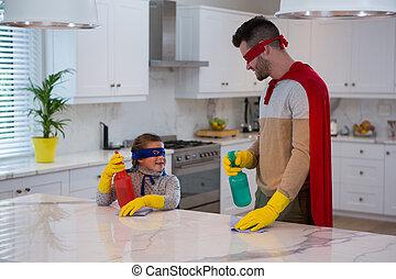 lenni, superhero, lány, igénylés, atya