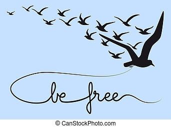 lenni, szabad, szöveg, repülés, madarak, vektor
