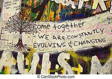 Lennon Wall, graffiti - Imagine - Lennon graffiti wall in...