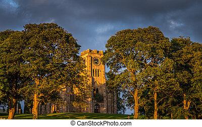 lennoxtown, 夕方, 日光, 教会