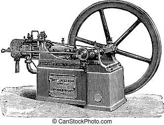 Lenoir engine, new type, vintage engraving.