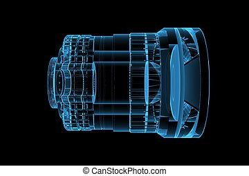 lens 3D rendered xray blue transparent