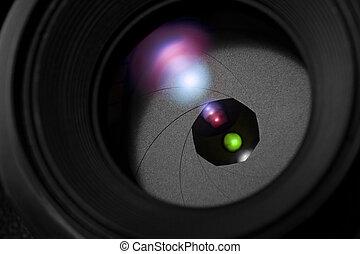 lens, afsluiten, fototoestel, op