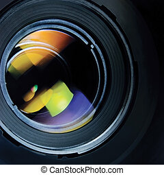 Lens and hood, large detailed macro zoom closeup - Lens and ...