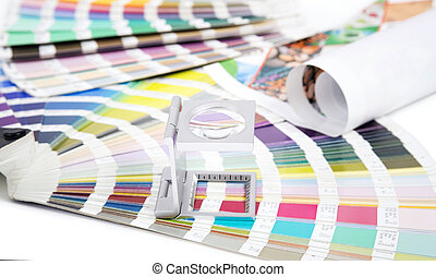 Lens and pantone. Design and prepress concept - Lens and...