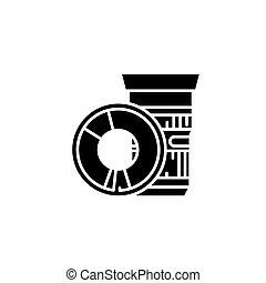 Lens black icon concept. Lens flat vector symbol, sign, illustration.