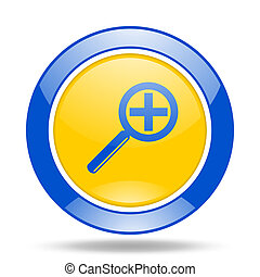 lens blue and yellow web glossy round icon