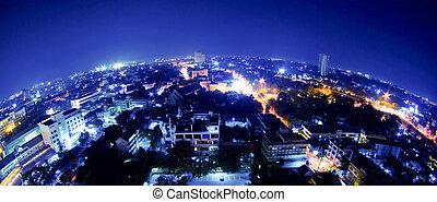 lens), building(fisheye, tailandia, vista, noche