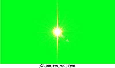 Lens Flare Animation On Green Screen. Light Effect