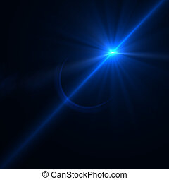 Lens flare effect over black background for your design