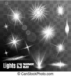 Lens flares and sparks - Set of black and white lens flares...