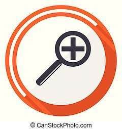 Lens flat design vector web icon. Round orange internet button isolated on white background.