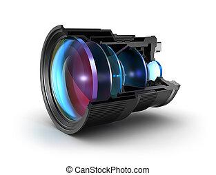 lens, fototoestel, bankstel