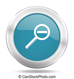 lens icon, blue round glossy metallic button, web and mobile app design illustration