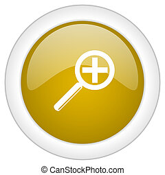 lens icon, golden round glossy button, web and mobile app design illustration