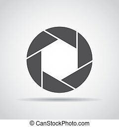 Lens icon with shadow on a gray background. Vector illustration