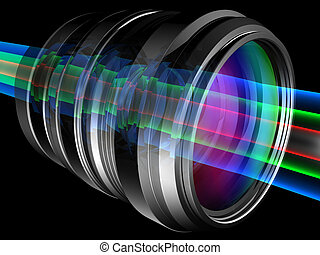 Lens - Light rays through camera lens