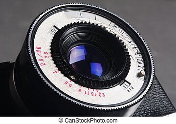Lens old photo camera with a large depth of field