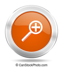 lens orange icon, metallic design internet button, web and mobile app illustration