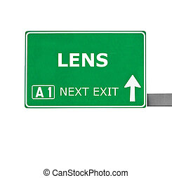 LENS road sign isolated on white
