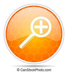 Lens web icon. Round orange glossy internet button for webdesign.